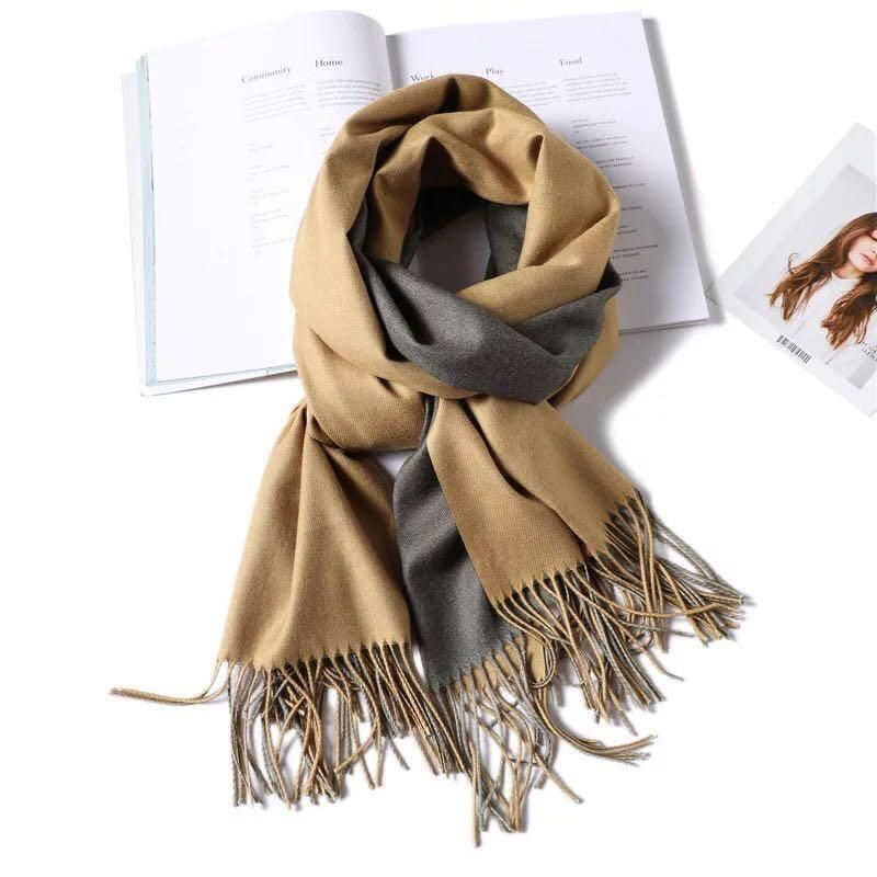 Factory wholesale Double - side color top quality autumn and winter cashmere ladies thickened warm pashmina scarf