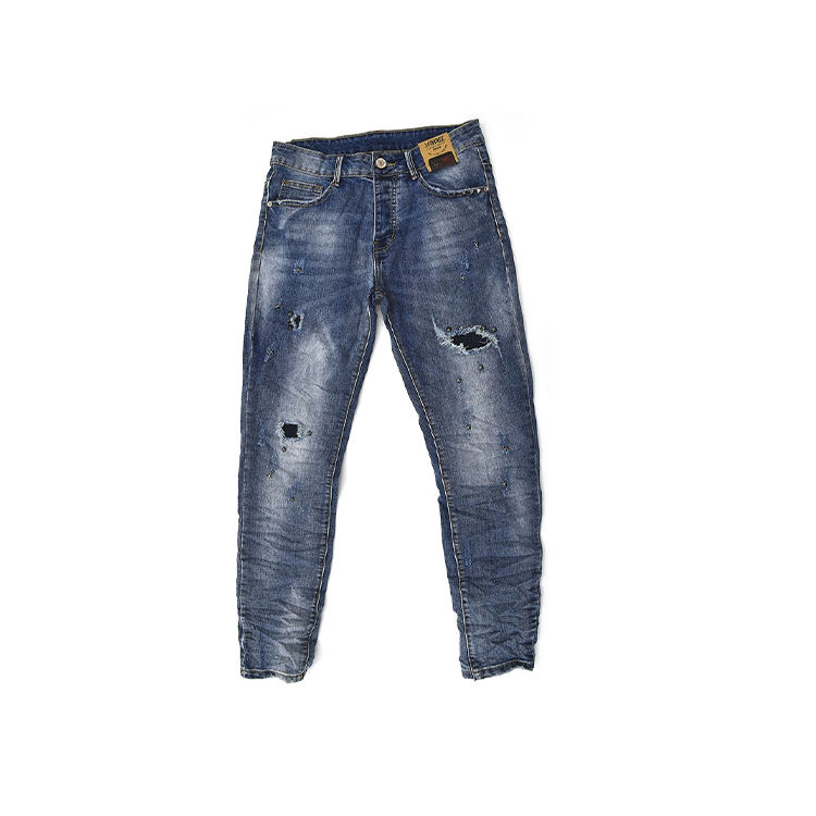 New design high quality modish dark blue men's jeans jean zipper