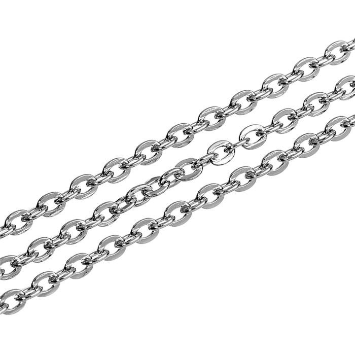 multi sizes Full Roll Stainless Steel Flat Cable Chain Oval Link Bulk Without Connectors, Fashion Jewelry Cable Chain