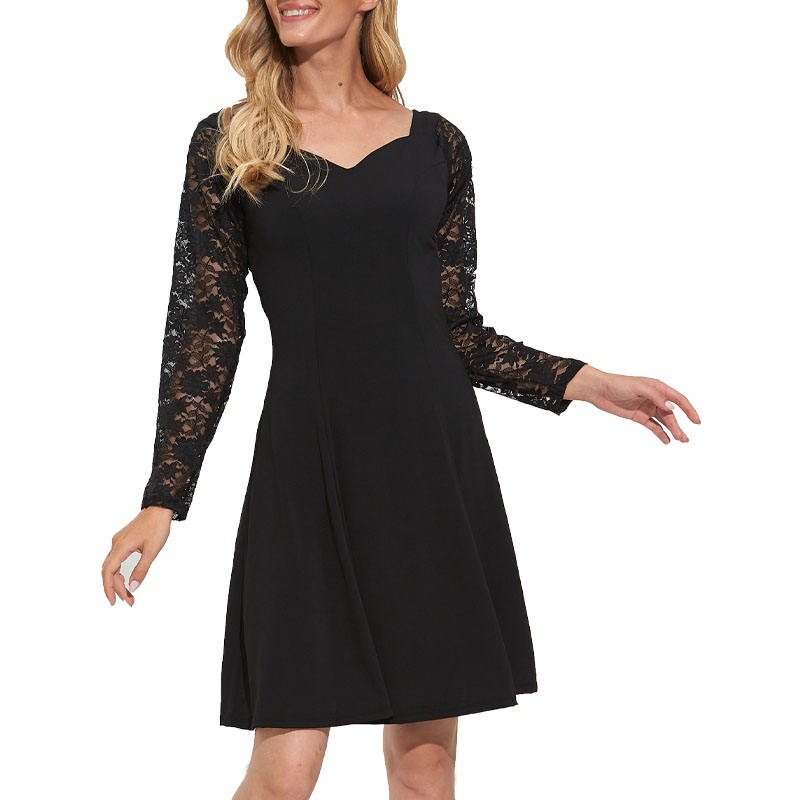 Ladies' casual dress with square collar a-line skirt lace lace sleeves
