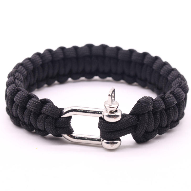 550 Paracord Survival Bracelet with Adjustable Stainless Steel Shackle for Outdoor