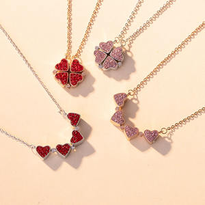 S925 Sterling Silver Jewelry Four-leaf Clover Necklace Korean version Creative Crystal Ladies Love Necklace