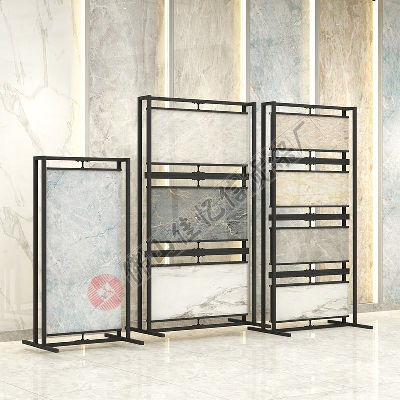 factory customize ceramic tile artificial granite stone sample book modern rotating brand metal racks double sided display stand
