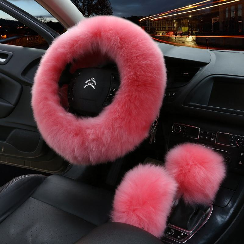Winter Steering Wheel Cover+H Brake Cover Car Automatic Covers//Warm Thick Plush Gear Shift Collar Pink