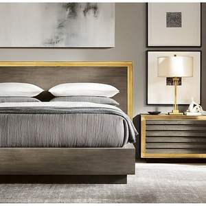 Nordic Modern Style Bedroom Furniture King Size Wood Upholstered Beds