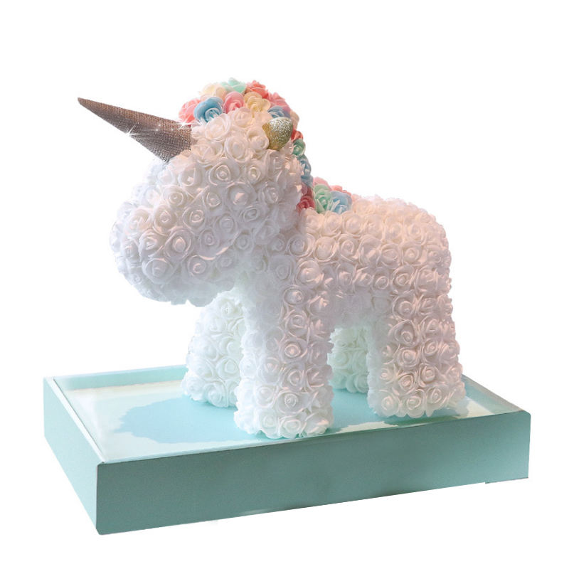 2020 Christmas and New Year gifts made of soap rose and foam flowers god beast pink unicorn
