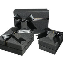 Custom Logo Ribbon Bow High-end Packaging Cosmetic Wig Shoes Apparel Perfume Luxury Black Paper Gift Box