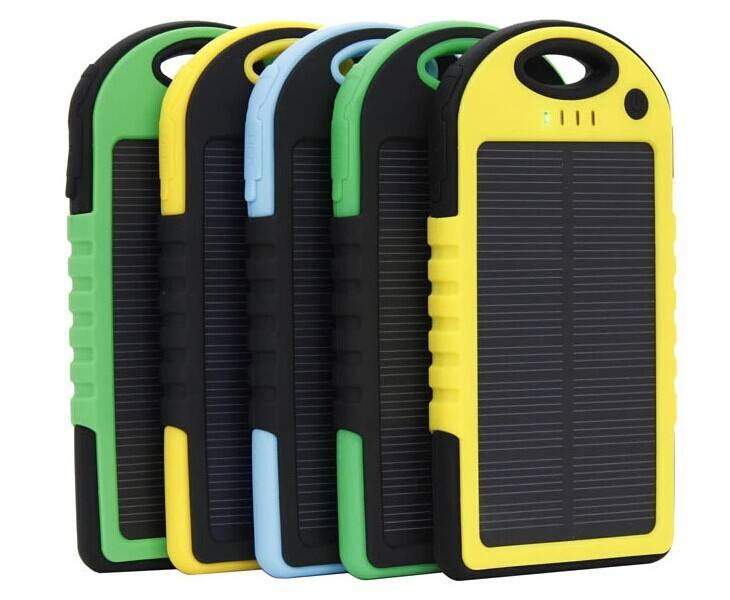 Factory Ready for Ship Amazon Hot Waterproof Solar Power Bank 5000mAh with LED Light for Outdoor Mobile Solar Charger