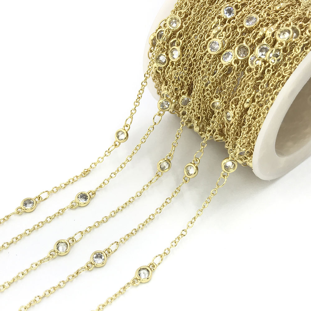 wholesale handmade brass chain with 24K gold plating round White Zircon beads for making necklace bracelet 4mm 5mm 6mm