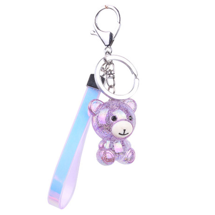 2020 Wholesale Stylish Personalized Bear Shaped Silicone Cartoon Keychains For Bags