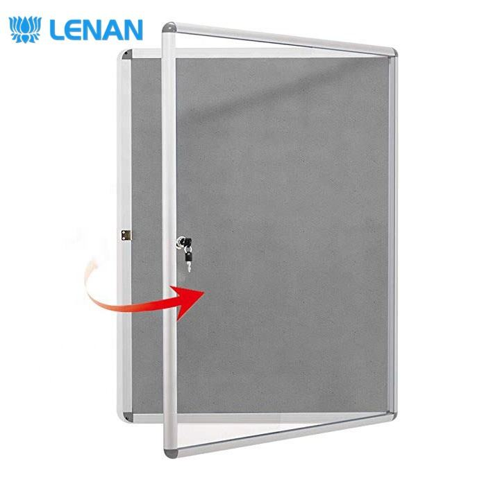 Wall mount lockable notice board tamperproof fabric felt pin board bulletin board with glass door