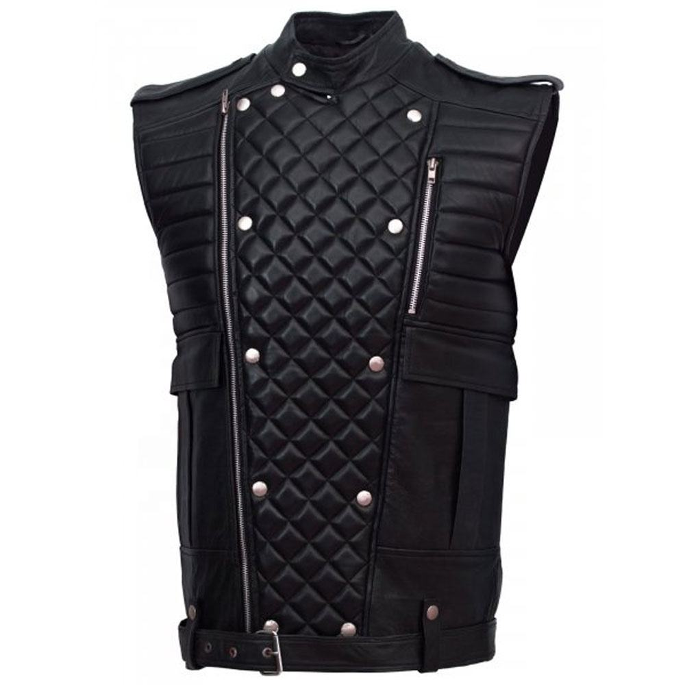 Men's Slim Vest Sleeveless Jacket / Men Casual PU Leather Vests / Button Open V-neck Genuine PU Leather Vest