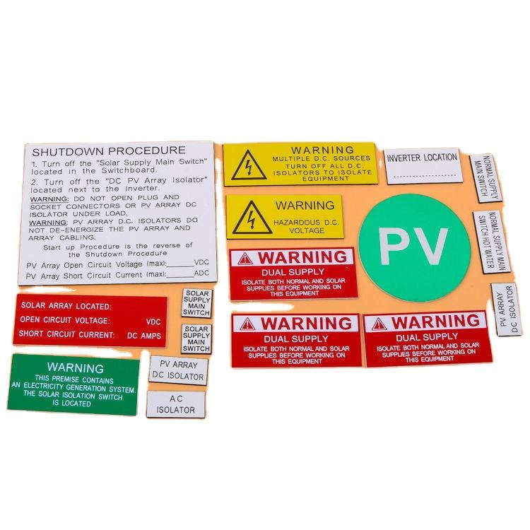 Solar System Customized ABS Warning Label Kits