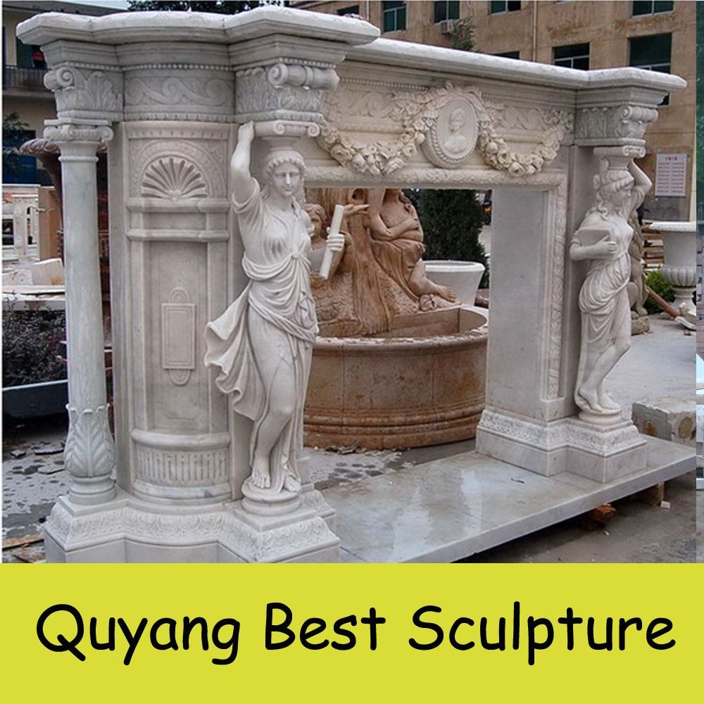 Large Size Inside White Marble Electric Decorative Lady Fireplace Mantels