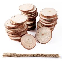 OurWarm Christmas Tree Ornament DIY Craft 5-6cm Natural Round Baubles Tags Wood Discs For New Year Decoration