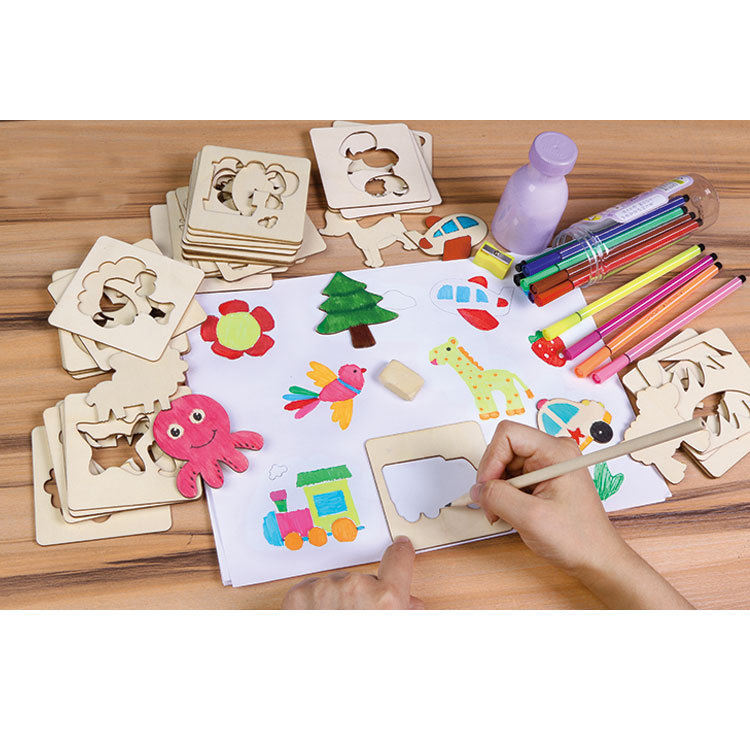 Wooden colour Painted Drawing toy drawing Template For kids Painting Training wooden drawing toys