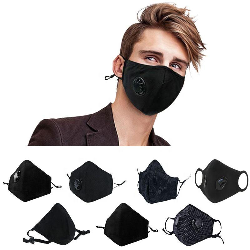 Preto pm 2.5 filtro de algodão de carbono poluição poeira boca rosto máscara n95