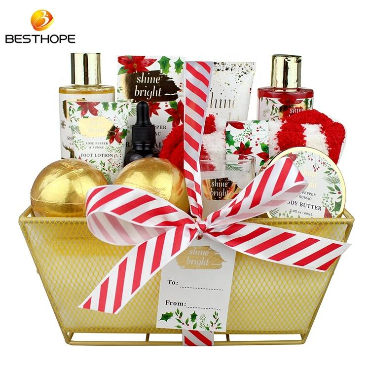 Christmas essential oil bath bomb bath and body works shower gel body spa gift set wire basket