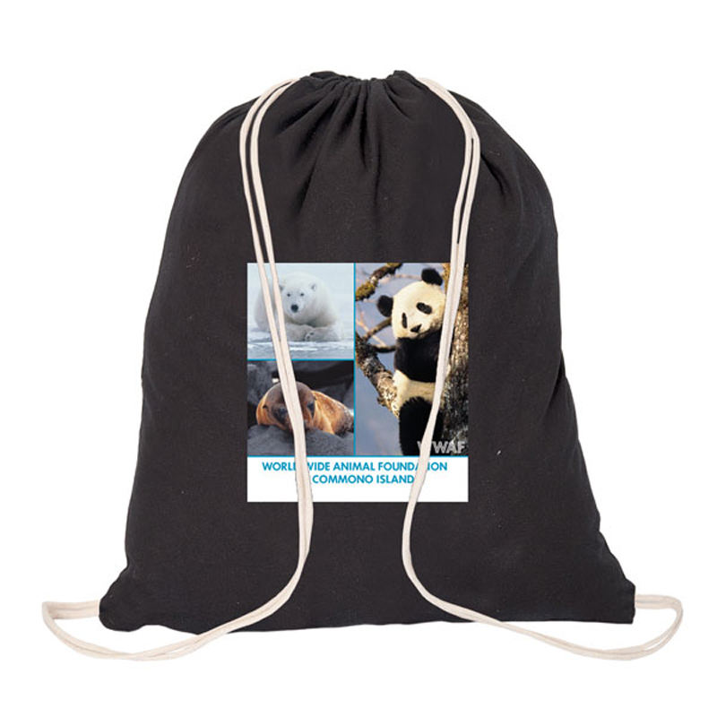 Cotton Canvas Gym Sport Drawstring Duffle Bag With Logo Printed For Promotional
