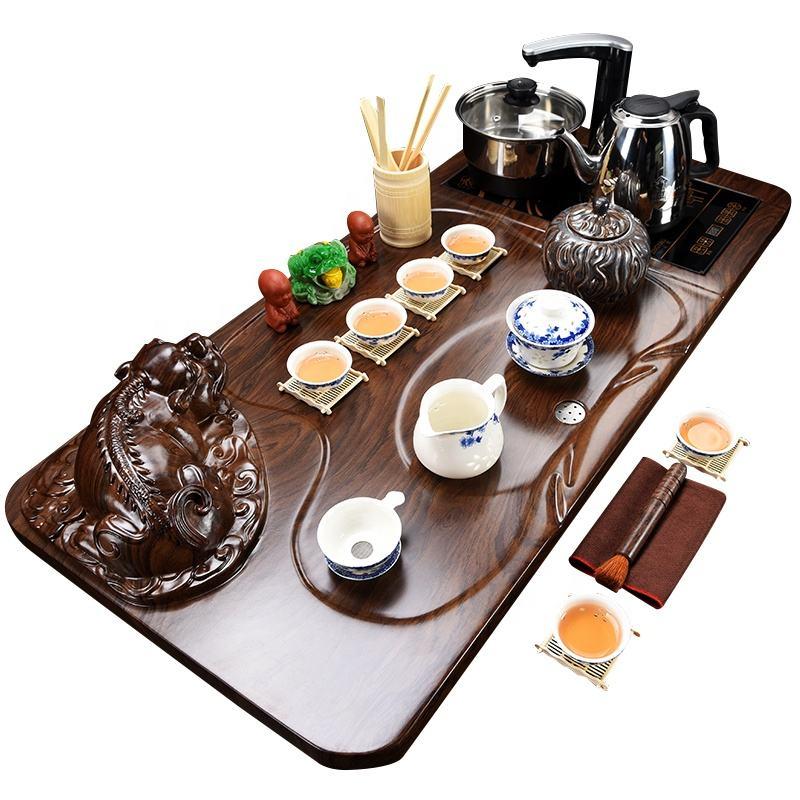 Ganze set von kungfu tee-sets tee tablett lila teacup teekanne