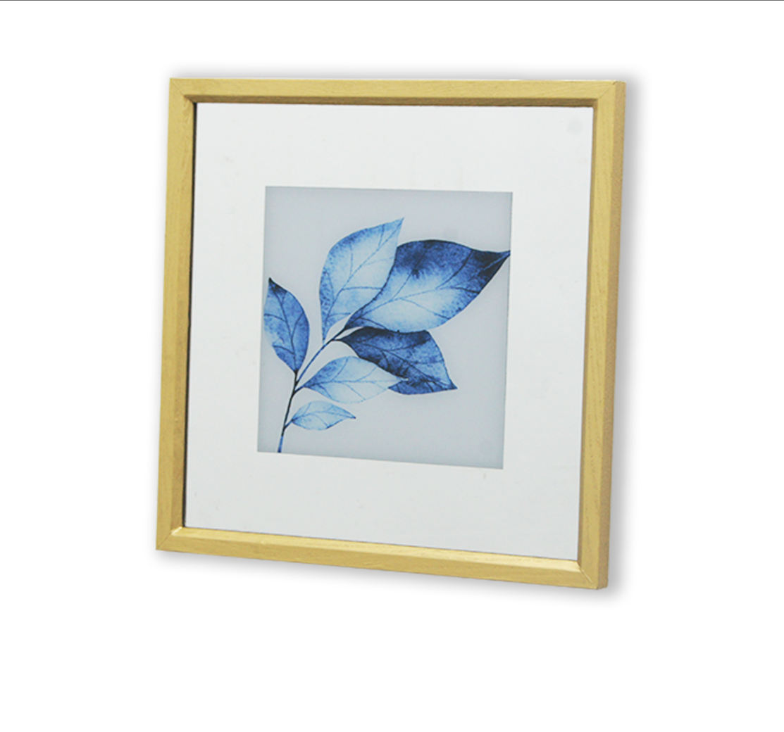 2021NEW Glass framed wall art style watercolor drip leaf painting wall art blue palm canvas frame wood home decor