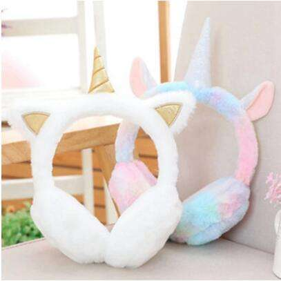 Lovely Unicorn Plush Warm Headphones for Girls Winter Fur EarMuffs Women Ear Cover Warmers Women Headband Toys Birthday Gifts