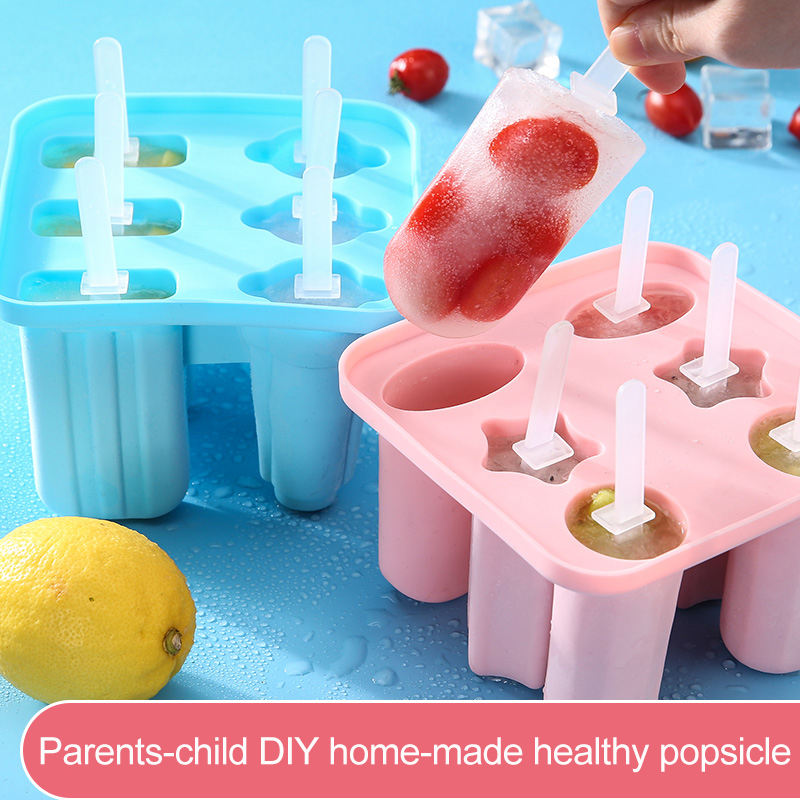 Parent-child DIY self-made healthy popsicle molds set Match 12 Smiley sticks food grade silicone ice cream mold