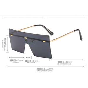 2020 New Square Rimless Shades Oversize Sunglasses woman glasses