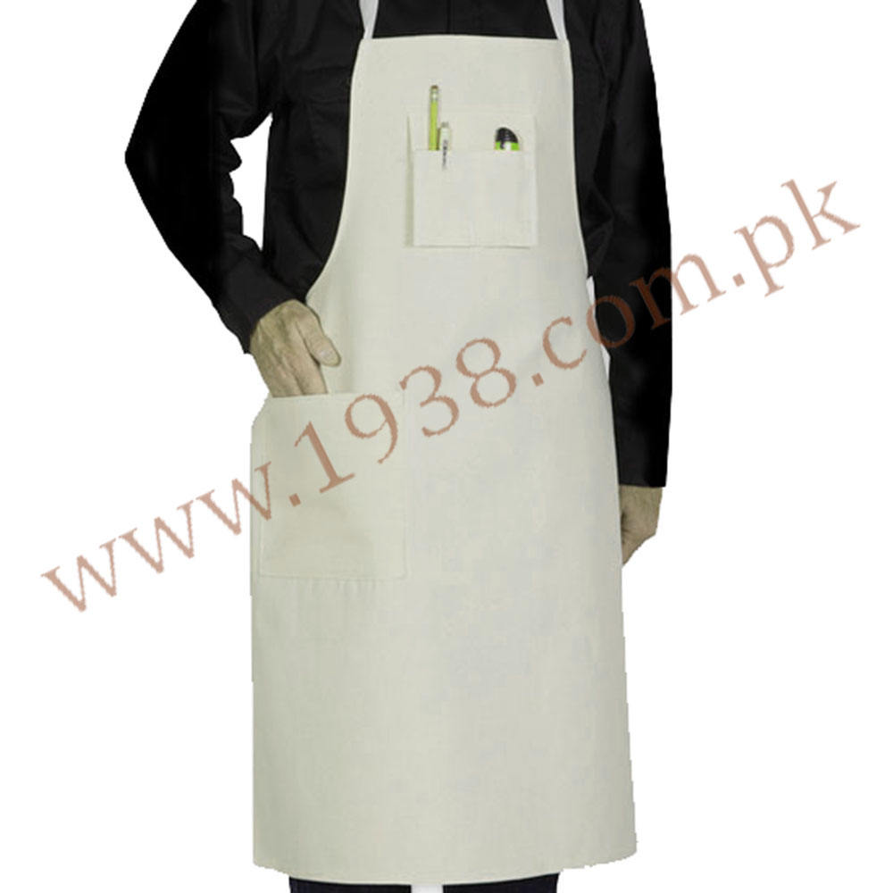 OEM Denim Construction Aprons In White Color Industrial Use Working Aprons For Sale