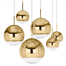 Hot selling golden glass ball chandelier modern simple creative clothing store mirror plating restaurant bar glass ball lamp