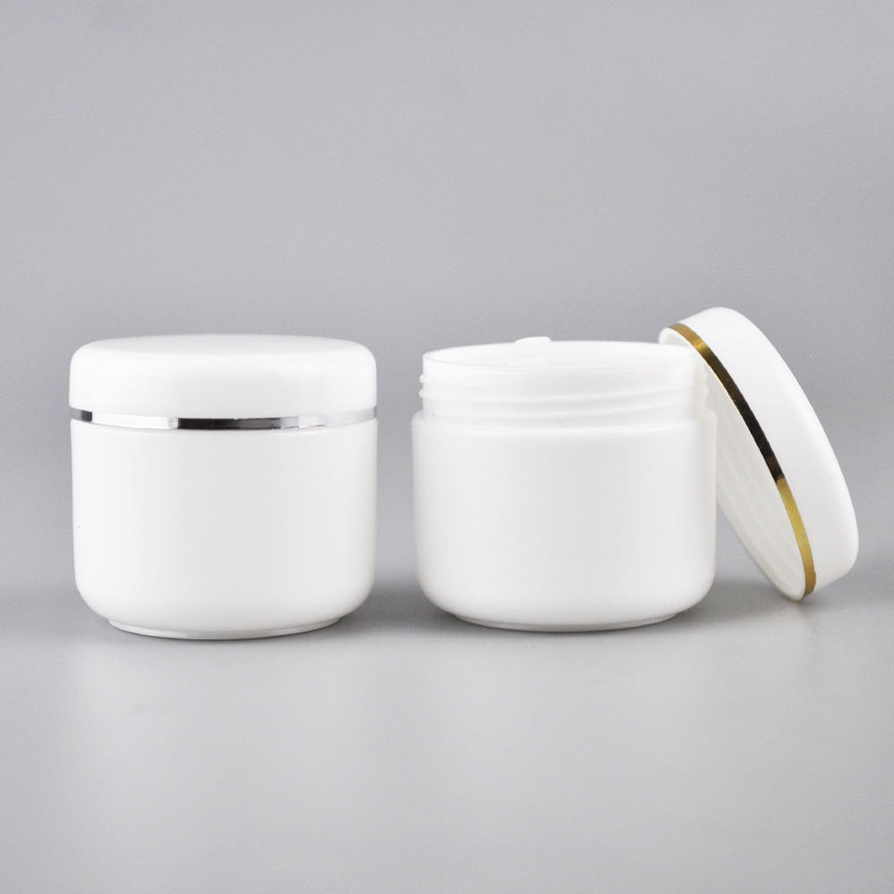 100g 250g 500g white plastic PP cosmetics cosmetic packaging bottles with white cap