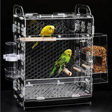 Unique acrylic house shape bird cage with feeder
