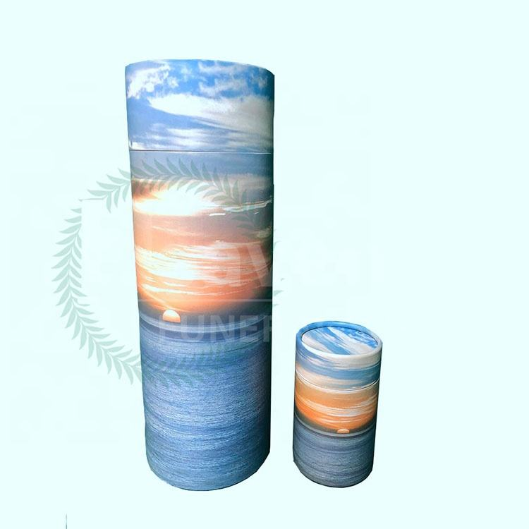 Customized Pattern Paper Pet Biodegradable Ashes Scatter Tubes Urn