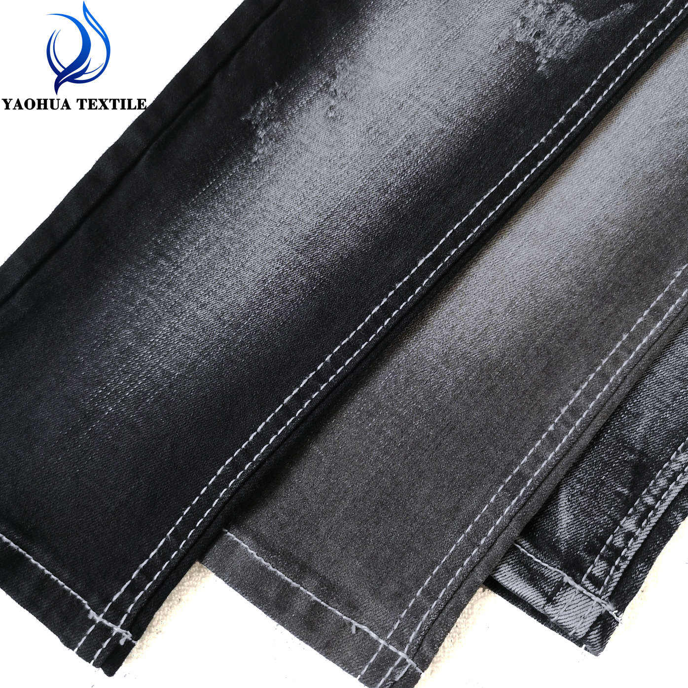 CK769 Stretch cotton polyester spandex washed weaving black denim fabric