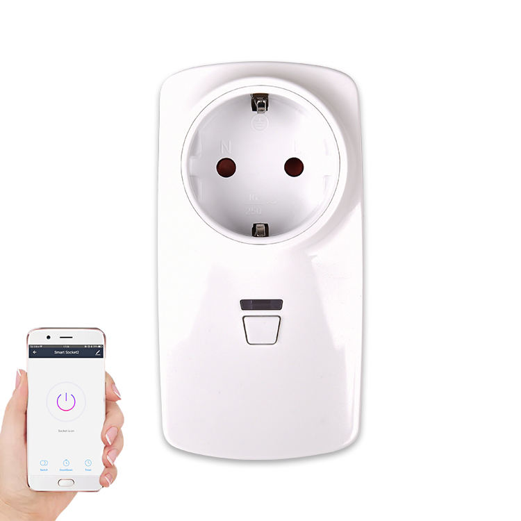 AC100-240V No Hub Required Voice Control European Style Remote Control Smart Socket WIFI