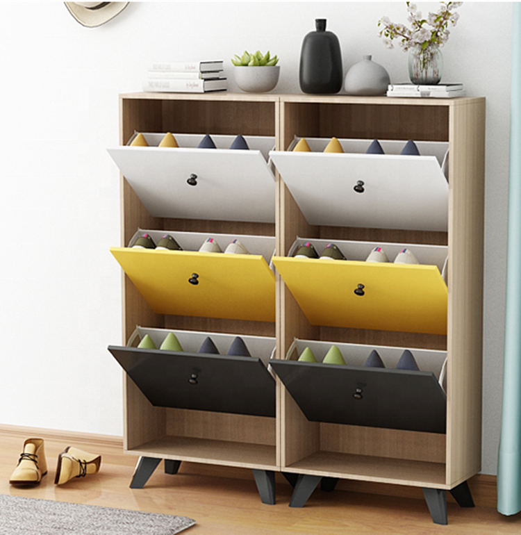 Nordic style Modern simple color wooden home Shoe Cabinet Rack