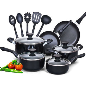 15 Piece Non stick Black Soft handle Cookware Set For Home Cooking Pans And Pots
