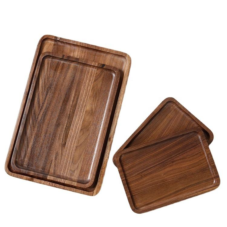 black walnut wood food serving trays rectangular tea coffee wooden tray