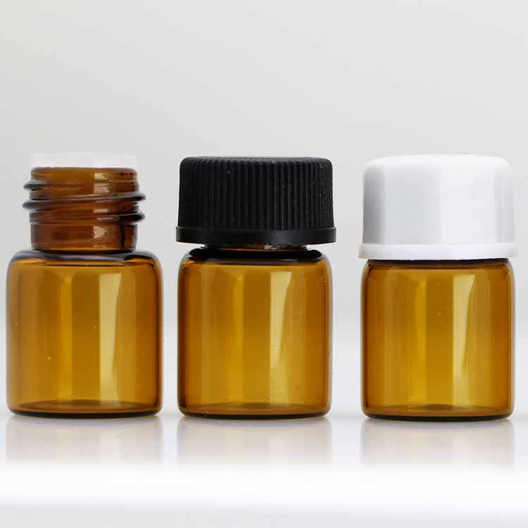 Essential oil tiny glass vials 2ml with orifice reducer plastic cap