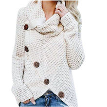 Chunky Button Women Sweater Turtle Cowl Neck Hem Wrap Pullover Sweaters women sweater 2019