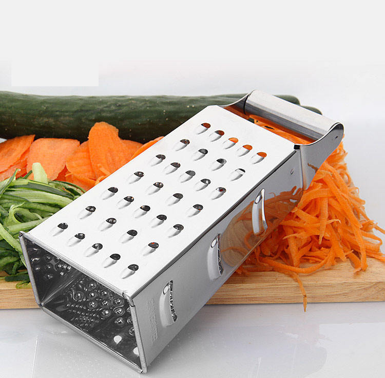 Hot Selling Custom Stainless Steel 4 Multi-purpose Vegetable Cheese Box Grater With Container