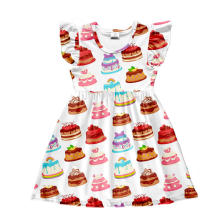 Latest Short Kids Summer Cake Candy Print Sister Cute New Design Girl Princess Dress
