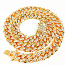 High Quality Gold Plating 12mm Iced Out CZ Hip Hop Cuban Chain Necklace Full Bling Crystal Miami Cuban Chain Hip Hop Necklace