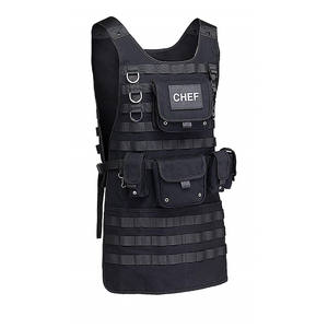 Adjustable Molle Tactical Chef BBQ Apron with 2 Large Pouches and 3 Smaller Pouches