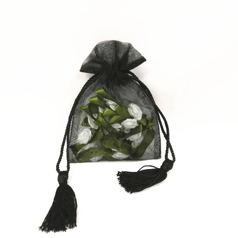 2019 black sheer personalized wholesale large clear custom drawstring gift organza bag with silk cord and tassels