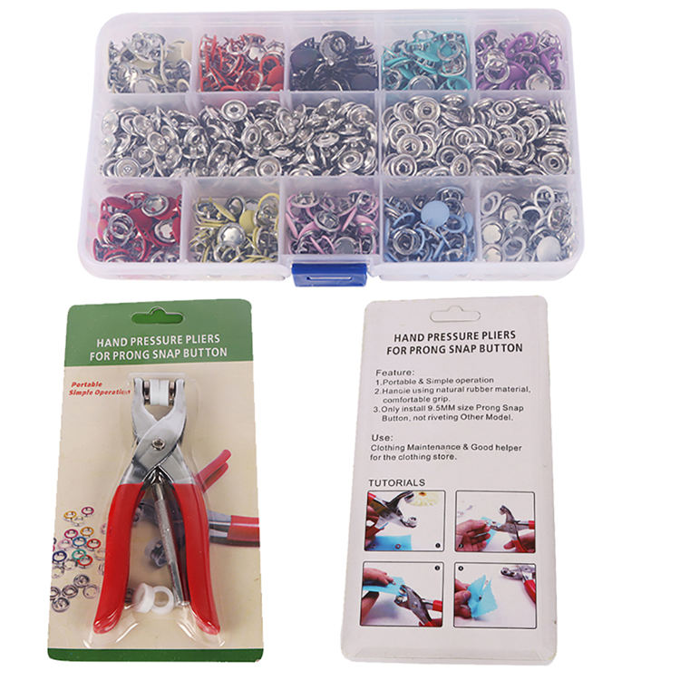 1Set Fasteners Install Hand Pliers Tool DIY Baby Clothes Sewing Accessories Colorful Metal Five-prong Buckle Press Button