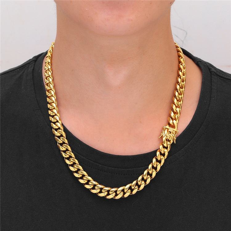 Hot Sale Unisex Hip Hop Jewelry 10MM Glossy Buckle Miami Chain Cuban Stainless Steel Necklace