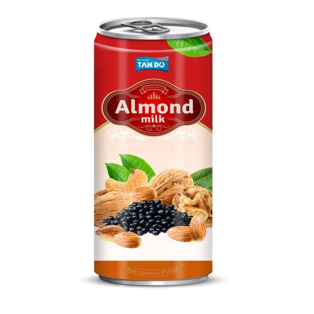 250ml slim aluminum can japan milk products 250ml drink private label almond flavored Healthy halal soft drink