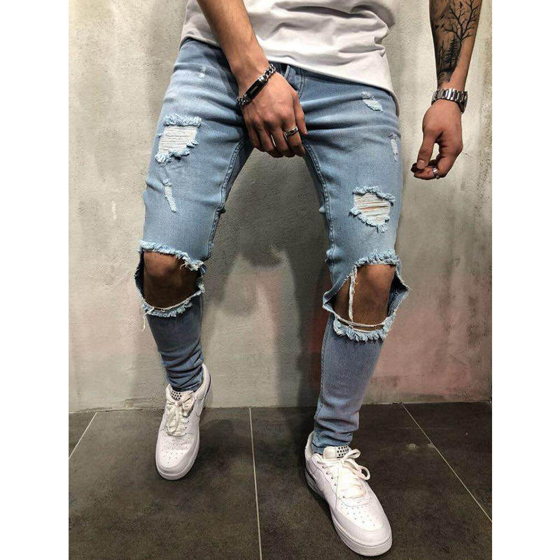 2020 European And American Demin New Style Ripped Slim Trousers Men Jeans Skinny