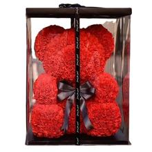 Luxury gift box 25cm PE Foam Rose Bear artificial rose for girlfriend Valantine's Day gift